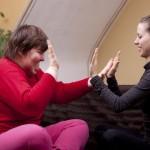 Heilerziehungspflegerin mit Klient
